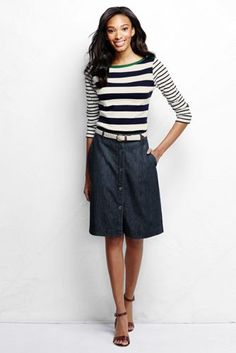Women's Button Front Jean A-line Skirt from Lands' End 2015