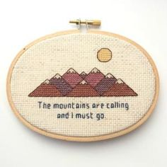 Adventure Themed Cross Stitch Patterns to Go Wild For.: The Mountains are Calling