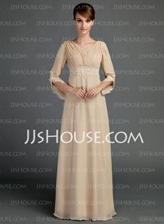 Mother of the Bride Dresses - $144.99 - Empire V-neck Floor-Length Chiffon Mother of the Bride Dress With Ruffle Lace Beading (008015725) http://jjshouse.com/Empire-V-Neck-Floor-Length-Chiffon-Mother-Of-The-Bride-Dress-With-Ruffle-Lace-Beading-008015725-g15725