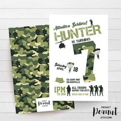 INSTANT DOWNLOAD Army Birthday Invitation Army Tank Camo
