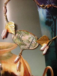 Handpainted birch pendant; I like the way that the leaves are place on each side of the pendant