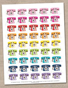 Telephone Printable Planner Sticker PDF Instant Download Phone Stickers