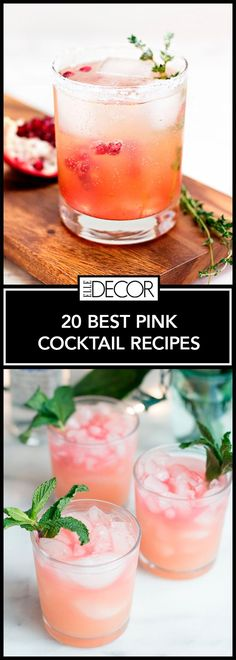 20 delicious pink cocktail recipes perfect for a girls night in, bridal shower or birthday party.