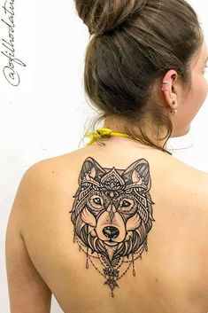 Really often nowadays people choose a mandala wolf head tattoo. The design of it looks unique and brings an additional meaning with all of the lines and bonds created. A beautiful picture will be definitely created on your body if you chose it for yourself. Wolf Paw Tattoos, Head Tattoos, Cute Tattoos, Girl Tattoos, Small Tattoos, Sleeve Tattoos, Wolf Tattoo Design, Mandala Tattoo Design, Tattoo Designs