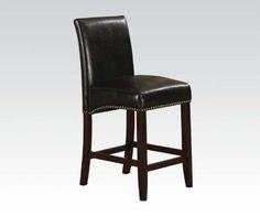 ACME Furniture 96169 Jakki Counter Height Chair (Set of 2), Black PU