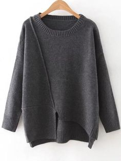 To find out about the Dark Grey Round Neck Ribbed Trim Asymmetrical Sweater at SHEIN, part of our latest Sweaters ready to shop online today! Winter Wear, Autumn Winter Fashion, Fall Winter, Diy Pullover, How To Wear Cardigan, Pull Gris, Asymmetrical Sweater, Minimal Fashion, Mode Style