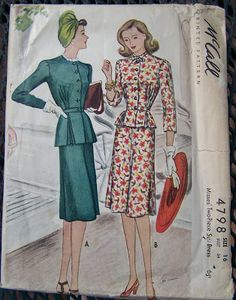 Spare Time (For Sewing): 1940's Peplum Blouse Pattern and Made Up