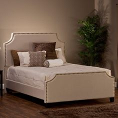Hillsdale Dekland Upholstered Cal King Bed in Ivory Stone Linen Fabric
