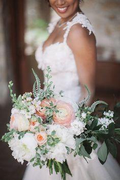 Midsummer Night's Dream Wedding Carmel Valley, California, White and Peach Wedding Bouquet | Brides.com