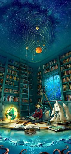 """cyrail: """"yuumei-art: """" ~Boundless~ From the depth of the ocean To the limitless sky Open a book, open your mind This world is boundless So let your imagination fly —– Happy almost Thanksgiving,. Yuumei Art, Anime Pokemon, Oeuvre D'art, Book Worms, Amazing Art, Awesome, Epic Art, Fantasy Art, Fantasy Magician"""