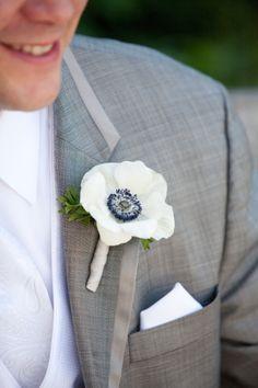 White anemone boutonniere, grey wedding, purple and grey wedding