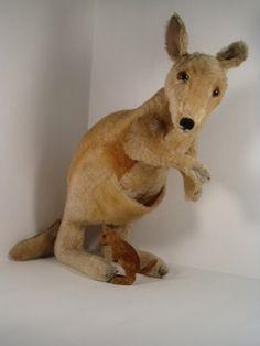 1950s Steiff mohair kangaroo with velvet  joey