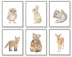 Woodland Nursery Art Animal Painting Baby Animal Prints Forest Watercolor…