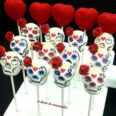Sugar skull cake pops and heart cake pops