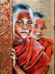 Drawing Portraits - Duo de novices Stephanie Ledoux - Discover The Secrets Of Drawing Realistic Pencil Portraits.Let Me Show You How You Too Can Draw Realistic Pencil Portraits With My Truly Step-by-Step Guide. Portrait Au Crayon, L'art Du Portrait, Pencil Portrait, Art Buddha, Buddha Painting, Art Sur Toile, Newspaper Art, Ledoux, Indian Art Paintings