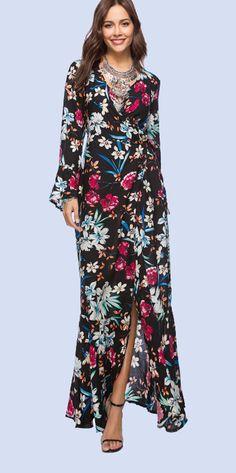 6fec63bc2c98 Ornate Print Plunge Neck Ruffles Detail Dress. Dress beachBeach dressesMaxi  ...