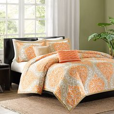 Bring a pop of pattern to your master suite or guest bedroom with this chic duvet cover set, showcasing a damask-inspired ogee motif.