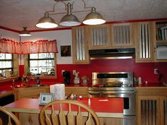 Image of: Harmonious Theme Red Kitchen Countertops and Red Kitchen Backsplash Red Kitchen, Kitchen Redo, Country Kitchen, Kitchen Remodel, Kitchen Ideas, Dirty Kitchen, Kitchen Cabinet Doors, Kitchen Cupboards, Kitchen Countertops