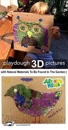 3D Playdough Pictures with Natural Materials To Be Found In The Garden:)