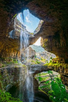 The Cave of Three Bridges, Baatara Gorge Waterfall