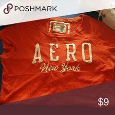 Shirt Orange, white lettering aero NY Aeropostale Tops Tees - Short Sleeve