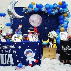Incrível essa festa com o tema Astronauta! Rocket Birthday Parties, Birthday Party Decorations, Astronaut Party, Outer Space Party, 1st Boy Birthday, Baby Party, Clear Balloons, Garland Ideas, Bernardo