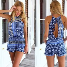 Playsuit Boho Style Romper in Blue is casual sexy and perfect to wear on the… Cute Rompers, Rompers Women, Jumpsuits For Women, Romper Floral, Boho Romper, Playsuit Romper, Romper Swimsuit, Short Playsuit, Short Jumpsuit