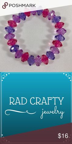 "🆕💜Adorable purple pink bracelet Stretchy kids bracelet. 10x7mm acrylic rondelle beads. About 6"". Rad Crafty Accessories Jewelry"