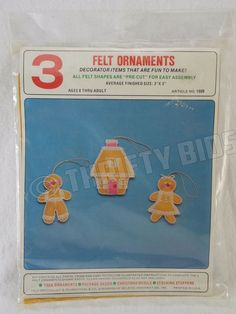 Vtg 1008 Felt Originals 3 Felt Christmas Ornaments Gingerbread Man Woman & House #FeltOriginals