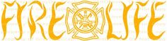 Maltese Cross Fire Life Vinyl Decal Firefighter Tools Axe Helmet Ladder Hook Flame Lettering Cross Axes Fireman Sticker for car truck auto vehicle rv atv scrapbook mirror wall window Fire Fighter Fire