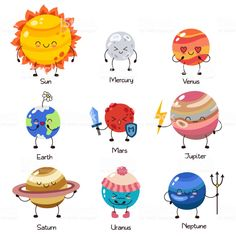 Set of vector doodle cartoon icons planets of solar system. Set of vector doodle cartoon icons planets of solar Solar System Art, Solar System Poster, Solar System Planets, Doodle Cartoon, Cartoon Icons, Cute Cartoon, Planets Wallpaper, Wallpaper Backgrounds, Funny Character
