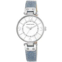 Anne Klein Silvertone Light Denim Strap Watch, 10-9169WTLD