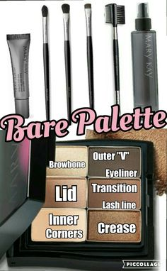1. Prime eyes  2. Driftwood on transitional crease with crease brush 3. Rosegold on top of crease 4. Moonstone on browbone for highlight 5. Sweet cream on inner corners with eye color brush  6. Spun silk on lids 7. Espresso on outer V 8. Driftwood to lower lash line with smudger 9. Espresso with brow brush for eyeliner and brow liner 10. Clean brushes!