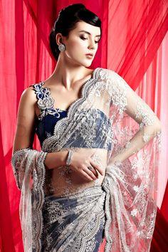 Satya Paul Grey French Lace Saree