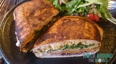 Tortas – Grilled eggplant, roasted poblano aioli, pickled red onions, cabbage, avocado, cilantro, beans – Restaurant Añejo in New York