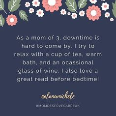 Can anyone else identify with a lack of downtime? I love @lanamichele's simple solutions of small things that can be done with very little notice or preparation. And now I have some ideas for later this week.  . As part of a Mother's Day series, moms from the Insta-space are sharing what they like to do during the few precious moments they have to take a break. . #mothersday #momdeservesabreak #mothersdayseries #motherhoodunplugged #realmoms #momlife #celebratemom #motherhood #teatime…