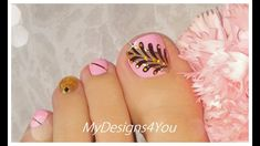 Cute and Easy Toenail Art Design Toe Nail Art, Toe Nails, Toenail Art Designs, Striping Tape, Nail Art Videos, Autumn Theme, Pedicure, Pink And Gold, Swatch