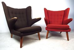 Pair Mid-Century Modern Papa Bear Chairs by Hans J. Wegner | From a unique collection of antique and modern lounge chairs at https://www.1stdibs.com/furniture/seating/lounge-chairs/