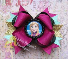 Anna hair bow Frozen hair bow girls boutique hair by JaybeePepper