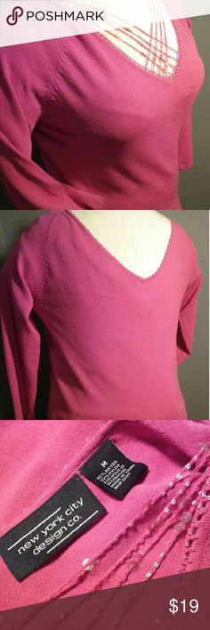 "NYC Design co. 3/4 sleeve beaded top M LIKE NEW!!!! Glass pink and clear beads adorn the wrist, neck and waist, criss-cross iridescent sequins flatter the decolletage. 65% rayon and 35% nylon, hand wash. 23"" shoulder to hem. New York City Design Co. Tops Tunics"
