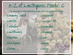A-Z of #Lactogenic Foods for #Breastfeeding Mums - C (there are lots!): Caraway Seed, Carrots, Cashews, Cauliflowers, Cherries, Chickpeas, Chives, Cinnamon, Coconut Oil, Coriander, Cornmeal, Crab, Cumin, Curry. To find out more about lactogenic breastfeeding foods visit: www.contentedcalf.com/breastmilk.   For #recipe ideas to incorporate these #lactogenic foods into your #breastfeeding diet, check out The Contented Calf Cookbook www.contentedcalf.com