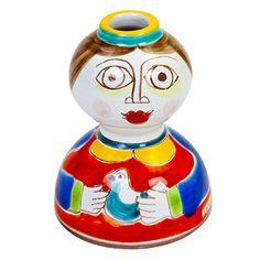 Ceramiche De Simone - Candelabras & Candle Holders - Sicilian Ceramic (Pottery) - OMP246-3 - Omino