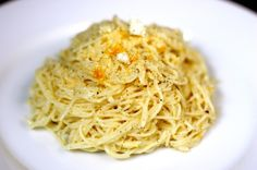 pasta with lemon, olive oil, and goat cheese