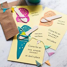 Ice Cream Social Invitations  Ice Cream Social Invitations  The invitations kick-start the nostalgia. A pretty scooped ice cream pattern has a perfect spot for a tuck-in wooden spoon. Print BHG's pattern onto cardstock; trim the design as shown and use the pattern to cut invites from pretty colored paper.