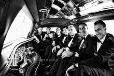 "Awesome photo of ""Da Guys"" Groom with Groomsmen in limo \\ Photo Credit: Darnall Photography"