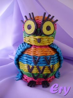 Handmade owl - newspaper weaving