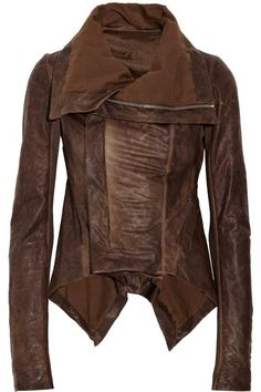 Distressed Leather Paneled Jacket. Reminds me of something Emma Swan would wear.