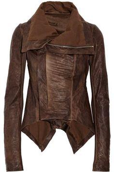 Distressed Leather Paneled #Jacket