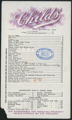 Childs' restaurant menu, New York, NY | via NYPL Digital Gallery