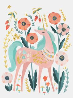 beautiful postcard with a unicorn surrouned by flowers printed on 350 gram FSC sulfate with environmentally friendly inkt x cm illustration by Irene Chan brand Petite Louise Alpaca Illustration, Unicorn Illustration, Illustration Art, Illustrations, Unicorn Painting, Unicorn Wall Art, Unicorn Drawing, Unicorn Poster, Unicorn Bedroom